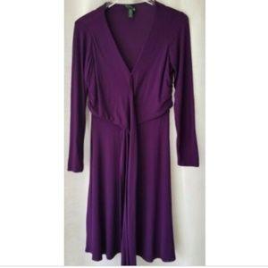 Lauren Ralph Lauren 8P purple faux wrap dress